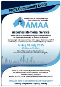 Asbestos memorial service | AMAA